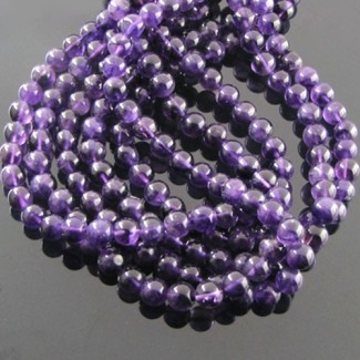 African Amethyst 5-5.5mm Smooth Round Shape Beads Strand