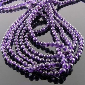 African Amethyst 4-4.5mm Smooth Round Shape Beads Strand