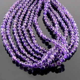 African Amethyst 3-3.5mm Smooth Round Shape Beads Strand