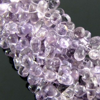 Brazilian Amethyst 8-10mm Smooth Drops Shape Beads Strand