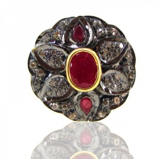 Ruby and Diamonds 925 Sterling Silver Ring