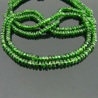 Chrome Diopside 4-4.5mm Faceted Rondelle Shape Beads Strand