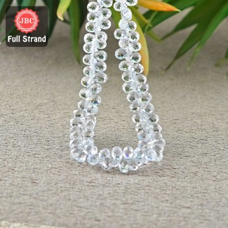 White Topaz 6.5-7.5mm Briolette Drops Shape 8 Inch Long Gemstone Beads Strand - SKU:157309