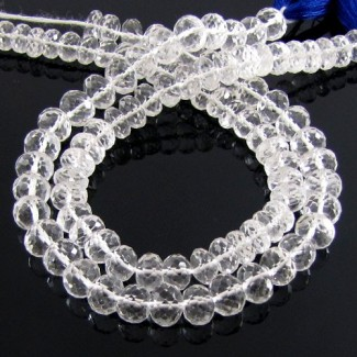 Crystal Quartz 6-6.5mm Faceted Rondelle Shape Beads Strand