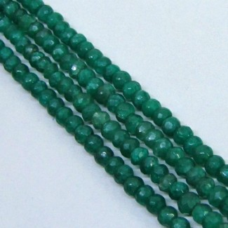 Dyed Emerald (Beryl) 4-4.5mm Faceted Rondelle Shape Beads Strand