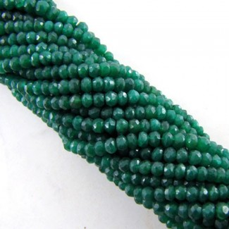 Dyed Emerald (Ropada) 3-3.5mm Faceted Rondelle Shape Beads Strand