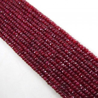 Dyed Ruby (Corundum) 3-3.5mm Hand Cut Rondelle Shape Beads Strand