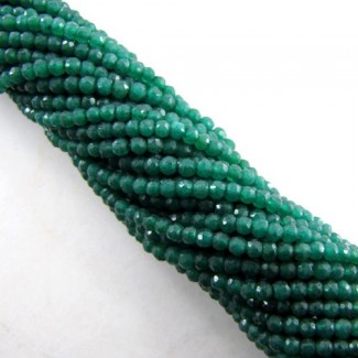 Dyed Emerald (Ropada) 4-4.5mm Faceted Round Shape Beads Strand