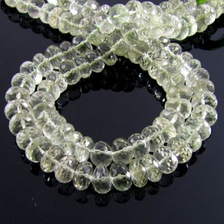 Green Amethyst 8-9mm Faceted Rondelle Shape Beads Strand
