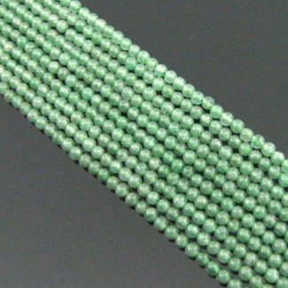 Green Aventurine 2-2.5mm Smooth Round Shape Beads Strand