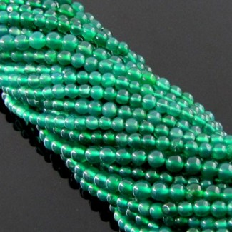 Green Onyx 3-3.5mm Smooth Round Shape Beads Strand
