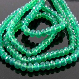 Green Onyx 5-5.5mm Micro Faceted Rondelle Shape Beads Strand