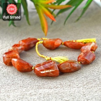 Sun Stone 21-28mm Step Cut Nuggets Shape 10 Inch Long Gemstone Beads Strand - SKU:157419