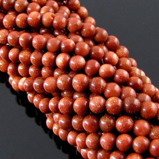 Gold Stone 4-4.5mm Smooth Round Shape Beads Strand