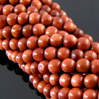 Gold Stone 6-6.5mm Smooth Round Shape Beads Strand