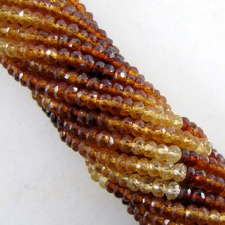 Hessonite Garnet 3-3.5mm Faceted Rondelle Shape Beads Strand