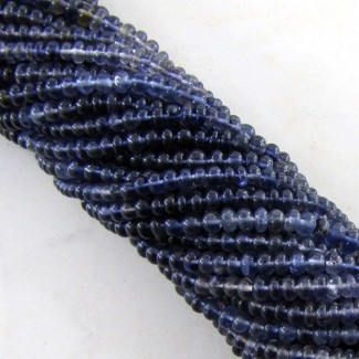 Iolite 3-3.5mm Smooth Rondelle Shape Beads Strand