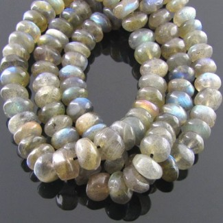 Labradorite 8-9mm Smooth Rondelle Shape Beads Strand