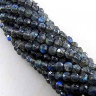 Labradorite 3-3.5mm Faceted Round Shape Beads Strand
