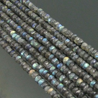 Labradorite 5-5.5mm Hand Cut Rondelle Shape Beads Strand