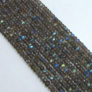 Labradorite 3-3.5mm Faceted Rondelle Shape Beads Strand