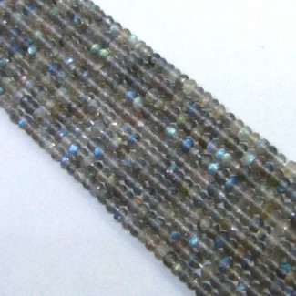 Labradorite 4-4.5mm Faceted Rondelle Shape Beads Strand