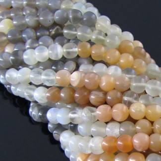 Multi Moonstone 5-5.5mm Smooth Round Shape Bead Strand