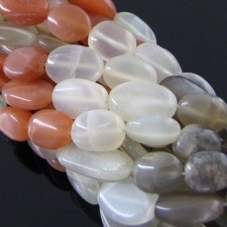 Multi Moonstone 10-12mm Smooth Oval Shape Beads Strand