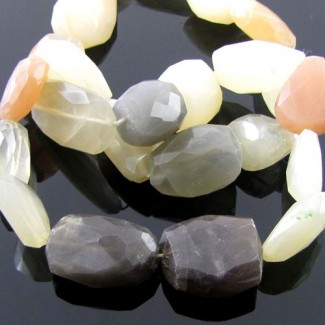 Multi Moonstone 15-20mm Faceted Nuggets Shape Beads Strand