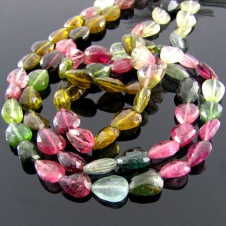 Multi-Color Tourmaline 7-8mm Faceted Pear Shape Beads Strand