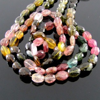 Multi-Color Tourmaline 7-9mm Faceted Oval Shape Beads Strand