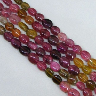 Multi-Color Tourmaline 5-6mm Smooth Oval Shape Beads Strand