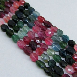 Multi-Color Tourmaline 8-10mm Faceted Oval Shape Beads Strand