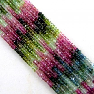 Multi-Color Tourmaline 2-2.5mm Faceted Rondelle Shape Beads Strand