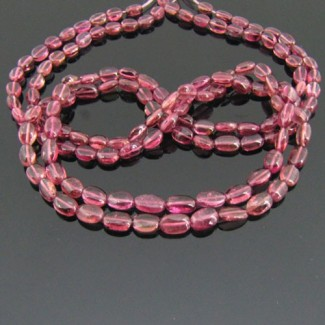 Pink Tourmaline 4-5mm Smooth Oval Shape Beads Strand