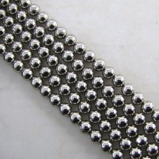 Pyrite 6-6.5mm Smooth Round Shape Beads Strand