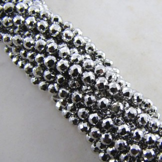 Pyrite 3-3.5mm Faceted Round Shape Beads Strand
