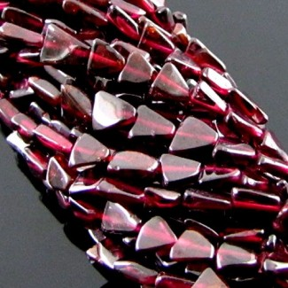 Garnet 8-10mm Smooth Triangle Shape Beads Strand