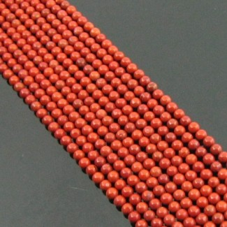 Red Jasper 2-2.5mm Smooth Round Shape Beads Strand