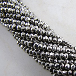 Pyrite 4-4.5mm Faceted Rondelle Shape Beads Strand