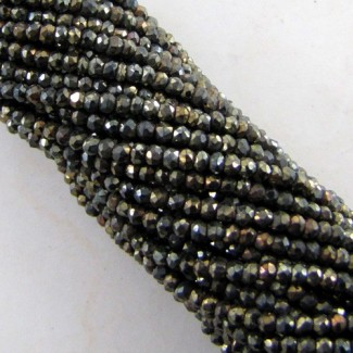 Pyrite 3-3.5mm Faceted Rondelle Shape Beads Strand