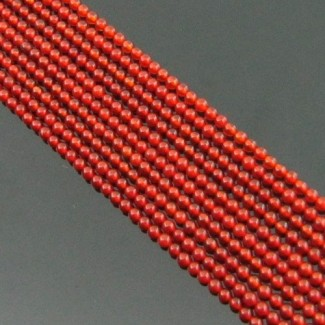 Red Onyx 2-2.5mm Smooth Round Shape Beads Strand