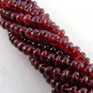 Red Spinel 3-4mm Smooth Rondelle Shape Beads Strand
