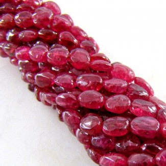 Red Spinel 5-6mm Smooth Oval Shape Beads Strand