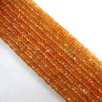 Spessartite Garnet 3-3.5mm Faceted Rondelle Shape Beads Strand