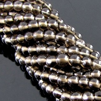Smoky Quartz 3-3.5mm Smooth Round Shape Beads Strand