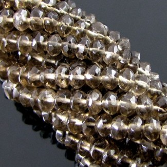 Smoky Quartz 4-5mm Hand-Cut Rondelle Shape Beads Strand