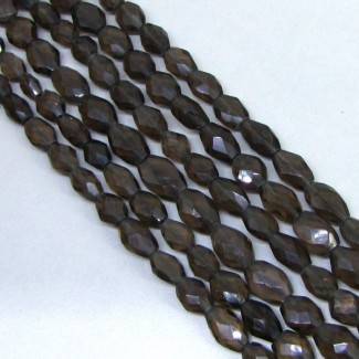 Smoky Quartz 8-10mm Faceted Oval Shape Beads Strand