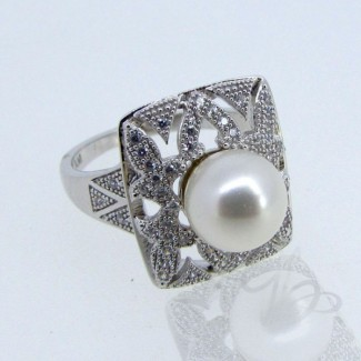 Pearl and Diamond White CZ 925 Sterling Silver Ring