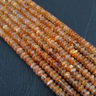 Sun Stone 4-4.5mm Smooth Rondelle Shape Beads Strand